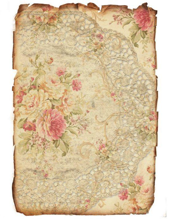 Number 50 Rose Papers Etsy Vintage Paper Vintage Printables Decoupage Paper