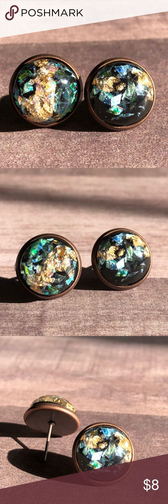 """🆕Black Opal Gold Metal Mix Stone Earrings! New, Handmade by Me! 🆕Style! Opal Stone mixed with Gold Metal! Listing in White, Black & Dark Blue; This listing is for the Black Stone in Copper Post Backs; Approx. 12mm or 1/2"""" Size; Can make in any Style Back Shown!📸These are my pic's of the Actual items!  ▶️1 For $8, 2 For $13, 3 For $15!◀️  ▪️3-$15 is only for items listed as such▪️ ▪️Post Back for Pierced Ears ▪️Nickel, Lead & Cadmium Free  *NO TRADES *Price is FIRM as Listed!  *Sales are…"""