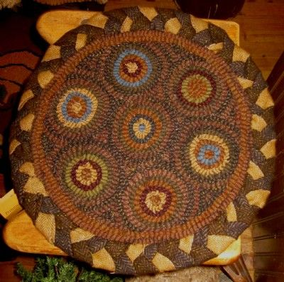 In Circles Hooked Chair Pad From A Simpler Time