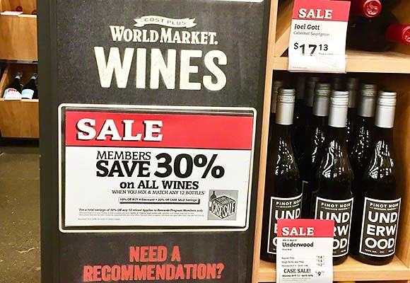 World Market Cost Plus is currently having a wine case sale with 30% off all their wines. Buy a case of a wine or mix and match wine to get the discount. via @winetravelers