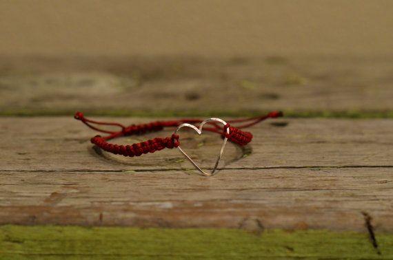 Maroon macramé bracelet with silver heart by CreationsOfJackieL