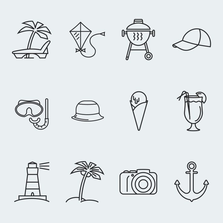 Summer Vector Iconset Template #63685