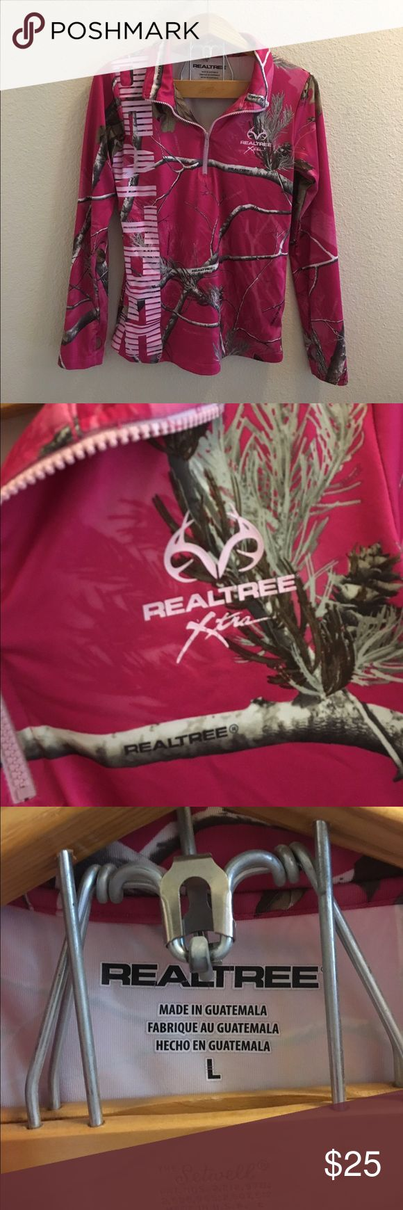Pink Real Tree Camo Pullover Size large pink camouflage Pullover by Real Tree. New without tags, in excellent condition. Zips up in the front, has thumb holes. Open to offers; bundles discounted! Real Tree Jackets & Coats