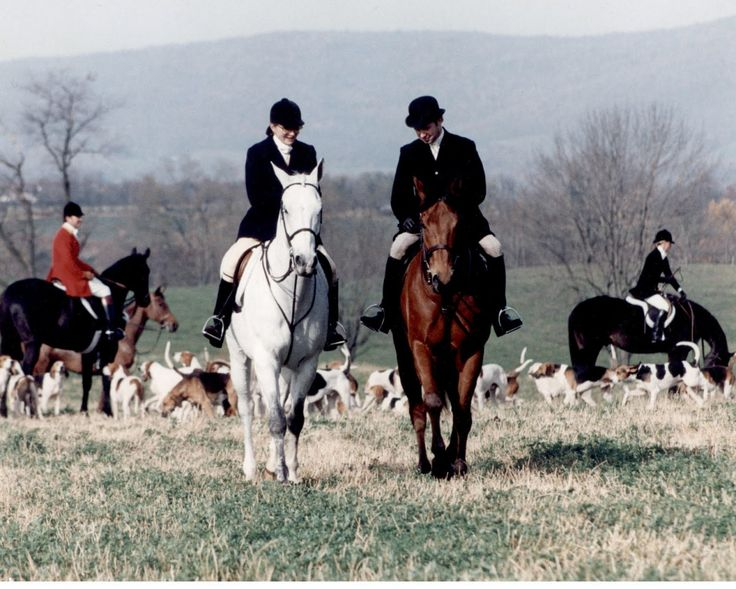"""john-f-kennedy-and-his-family: """" Riding Her Horse with the Red Fox Inn Keeper-When the Kennedys came to Middleburg JFK used to hold his Press Conferences there. 1990. Hunting with the Piedmont Foxhounds- The Inn Keepers name is Mrs.Porter """""""