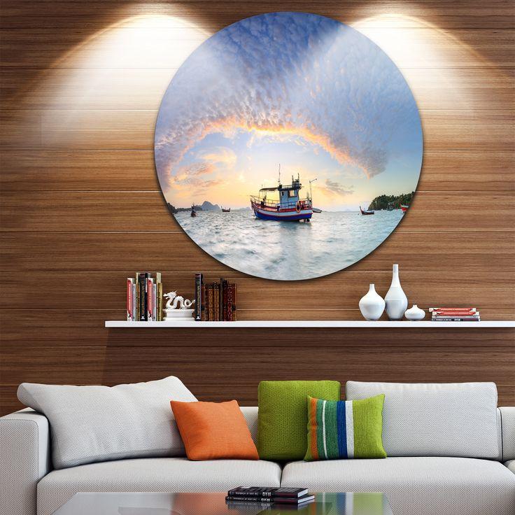 Designart 'Fishing Boat at Phuket Sunrise Beach' Modern Seascape Disc Metal Wall Art