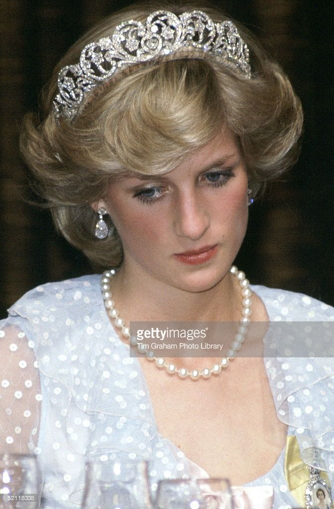 Princess Diana At A Banquet In New Zealand Wearing A Blue Chiffon Evening Dress Designed By...