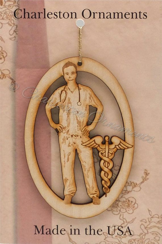 Unique Male Nurse Wooden Ornament, Nurse Ornament, Nurse gift ~ FREE PERSONALIZATION