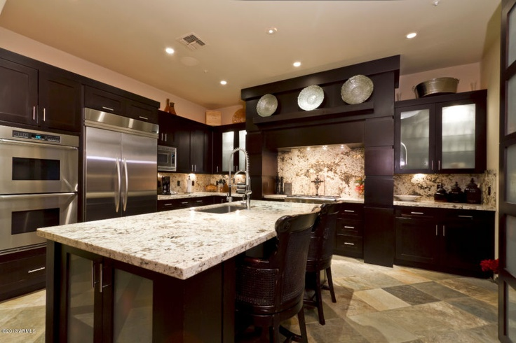 I like the dark cabinets with the light granite kitchen - Kitchen design with dark cabinets ...