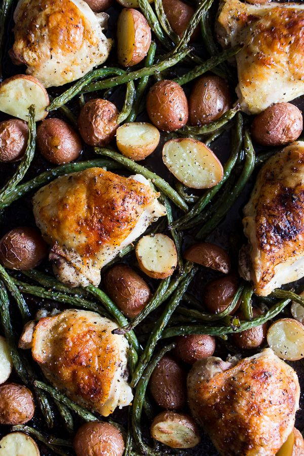 This sheet pan chicken and potato dinner with green beans is ready in under an hour and devoured in just minutes. Super easy this dinner is to throw together! @nutmegnanny