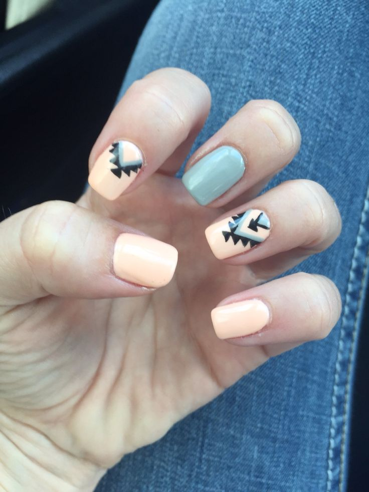 # peach#grey#aztec# nails