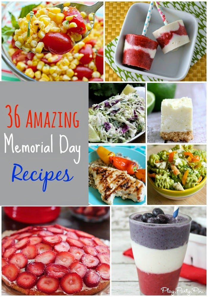 Amazing Memorial Day recipes including sides, desserts, and even drinks from playpartypin.com