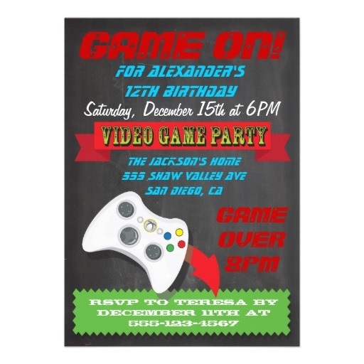 chalkboard video game party invitations  liam's birthday, party invitations