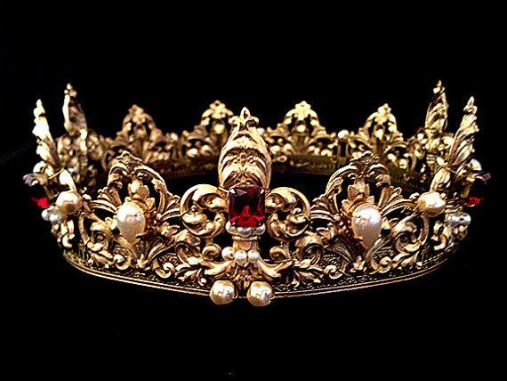 Renaissance royale Couronne fleur de Lys, perles de verre, filigrane