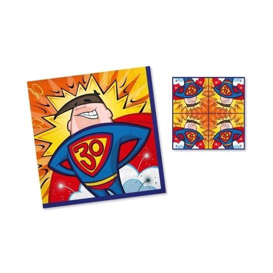 Servetten 3-laags 30 jaar superman. Inhoud: 20 stuks. Formaat: 33 x 33 cm. Materiaal: papier.