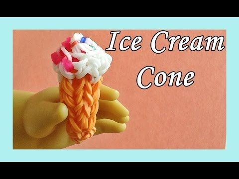 Rainbow Loom 3D ICE CREAM CONE (Doll-size). Designed and loomed by DIYMommy. Click photo for YouTube tutorial. 05/03/14.