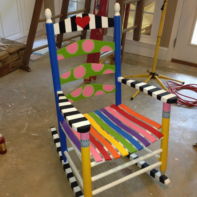 I painted this sweet, colorful rocking chair!