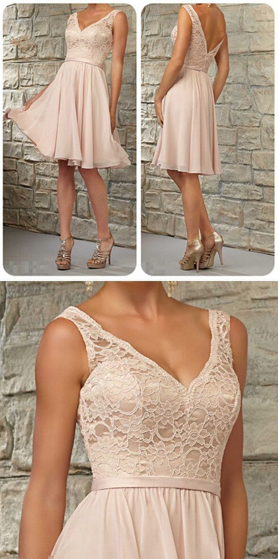 Short Lace Top Off Shoulder V-Neck Knee-Length Blush Pink Bridesmaid Dress, WG06