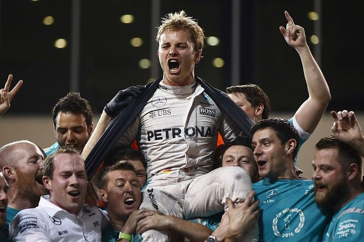 Nico Rosberg celebrates a Drivers World Championship in Abu Dhabi 27Nov2016.
