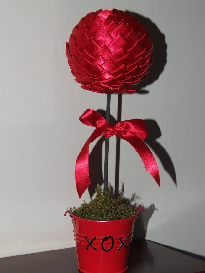 Homemaking Honeys: Valentines Topiary Tree - What you need: Small Styrofoam Ball, Medium or Large Styrofoam Ball, Wood Dowel, Ribbon-about 2 - 3 yards (1 inch wide), Sequin Pins, Moss, small metal pail.