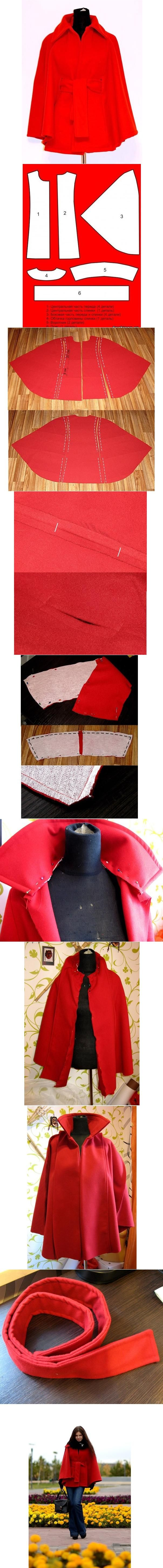 DIY Fashion Cape... the instructions aren't in English and they are a little blurry, but I'm sure I can still manage.  Cute!  I might even put a hood on it.