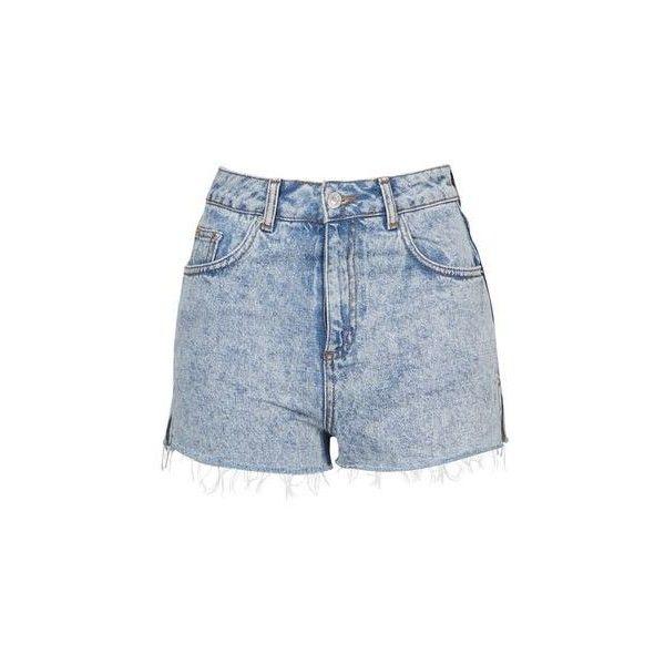 TopShop Moto Acid Wash Mom Short ($37) ❤ liked on Polyvore featuring shorts, pants, acid blue, topshop, blue cotton shorts, short shorts, high waisted short shorts and high-waisted shorts
