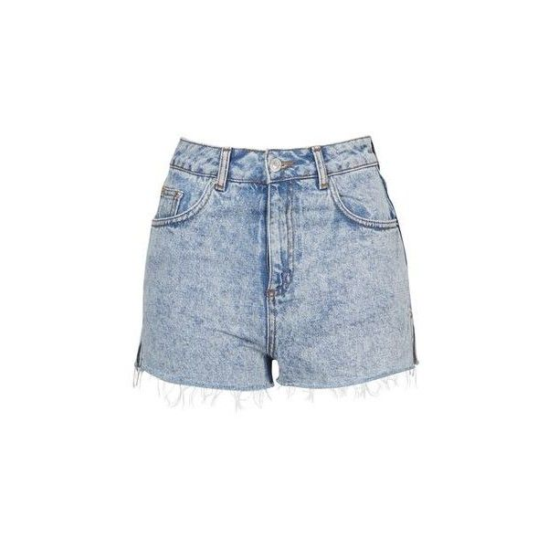 TopShop Moto Acid Wash Mom Short (680 MXN) ❤ liked on Polyvore featuring shorts, pants, acid blue, high-waisted acid wash shorts, high-rise shorts, topshop, blue cotton shorts and high rise acid wash shorts