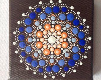 Dotart 10 x 10 naranja azul Mandala pintura original sobre lienzo, pintura, oficina y decoración de hogar adorno regalo Dotilism Dotart Henna arte