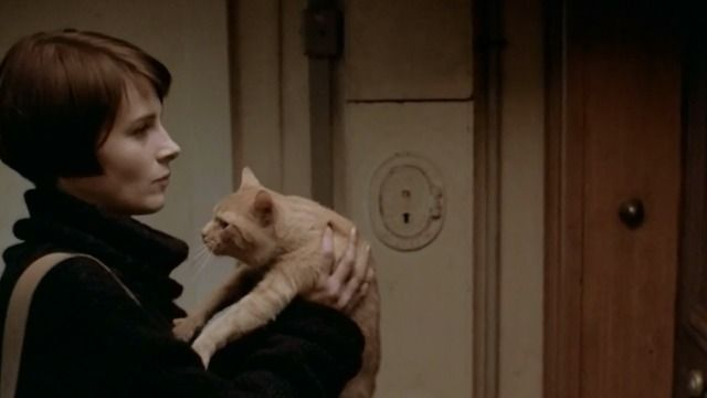 Julie (Juliette Binoche) asks to borrow her neighbor's cat to take care of some mice in her apartment in the installment of Kieslowski's color trilogy of films titled Trois couleurs: Bleu (Three Colors: Blue) (1993).