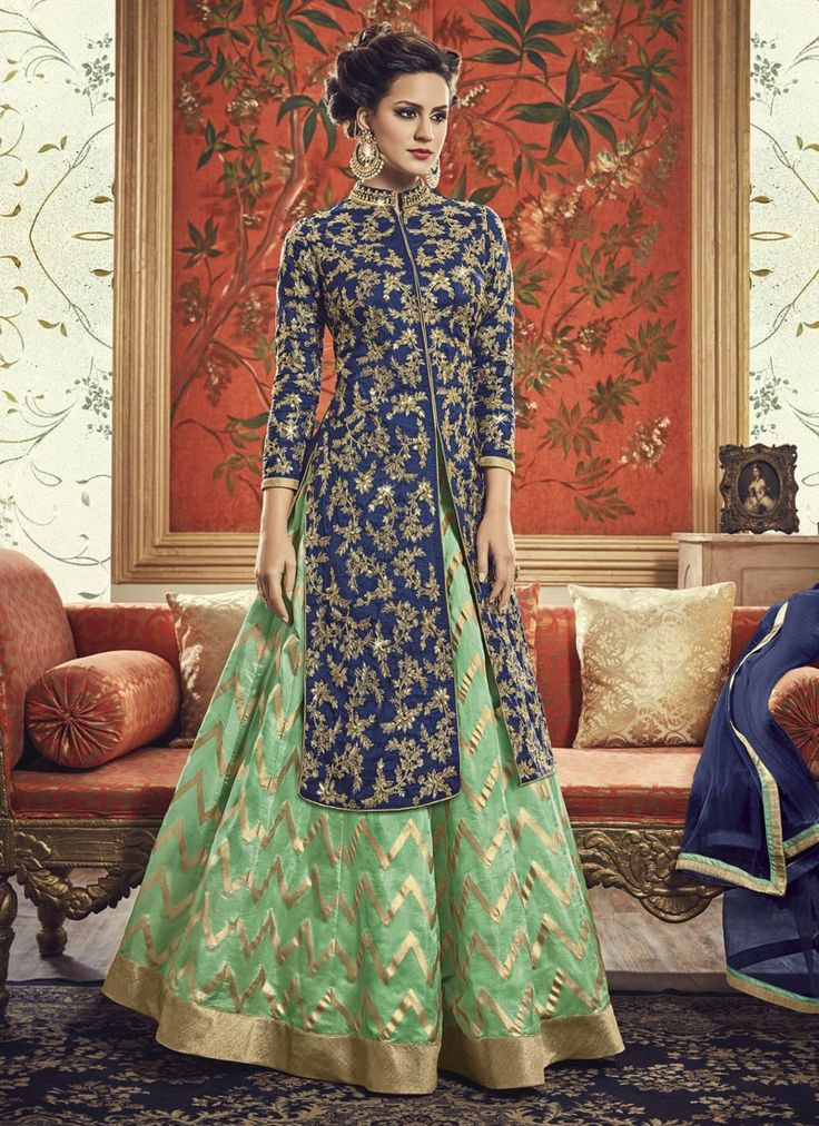 Epitome Navy Blue Banarasi Silk Jacket Style Lehenga Suit