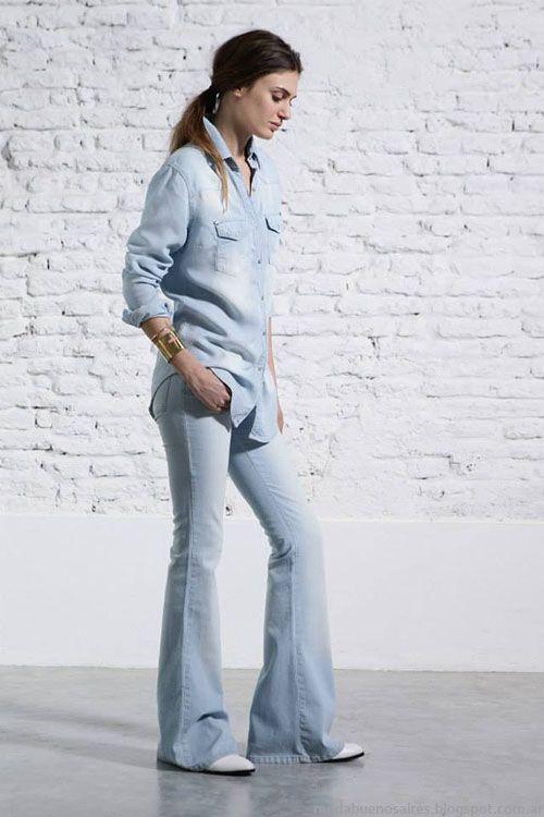 Tendencias de moda verano 2015: Denim + denim. Look Melocotón 2015 camisa y jean oxford.