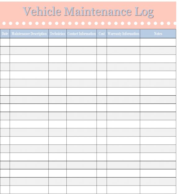 What do you include on maintenance log forms?