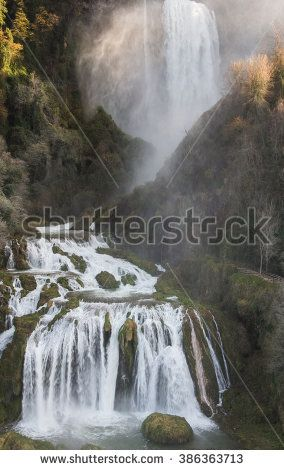Beautiful view of Marmore's Falls (Umbria, Italy), one of highest waterfall of Europe (165m). #CascataDelleMarmore #Umbria #Marmore #Landscape #River #Italy #Travel #Microstock #Nature #Landscape #Microstock