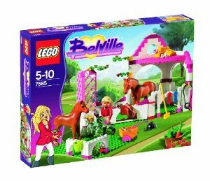 LEGO Belville Set #7585 Horse Stable by LEGO. $46.23. 209 pieces. Horse Stable has lots of accessories including flowers, ribbons, carrots, kitten and more!. Age 5-10. Includes Laura equestrian figure and horses Star and Robin!. bFun at the horse stable!/bHelp Laura take care of her horse, Star, and its foal, Robin at the horse stable! When you're done, relax in the hay loft with some pink lemonade. Its sure to be a fun day! * Includes Laura and horses Star an...