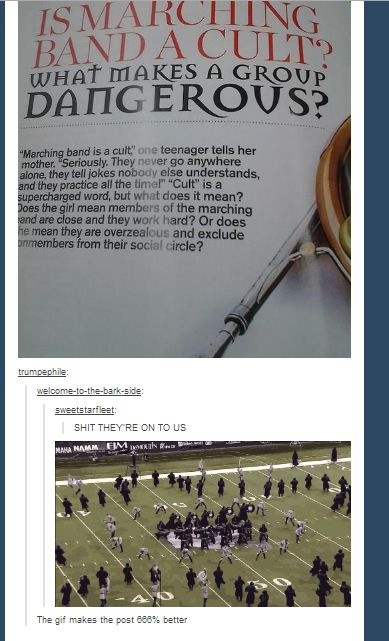 Is marching band a cult? lol, funny, marching band humor