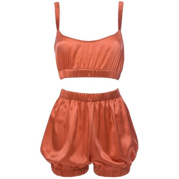 Roses Are Red - Sundays Are For Ever Silk Sleepwear Set Coral ($360) ❤ liked on Polyvore featuring intimates, sleepwear, pajamas, silk pjs, sexy silk pajamas, sexy sleep wear, red pjs and red pajamas