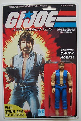 Custom made 3 3/4 Chuck Norris GI Joe vintage style MOC action figure  This just makes me laugh. The art is from Invasion USA a cold war propaganda film from the 1980's not to be confused with Invasion USA a cold war propaganda film that was from the 1950s and featured on MST3K.