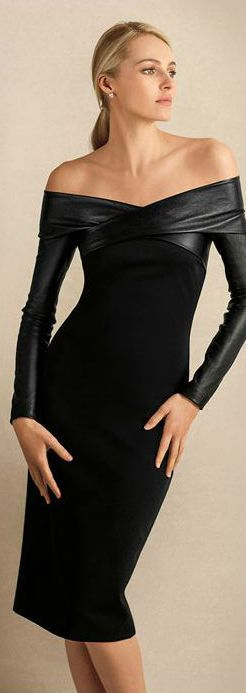 Ralph Lauren, Pre-fall Little Black Dress - Off the shoulder - leather - HOT and Sophisticated body con dress