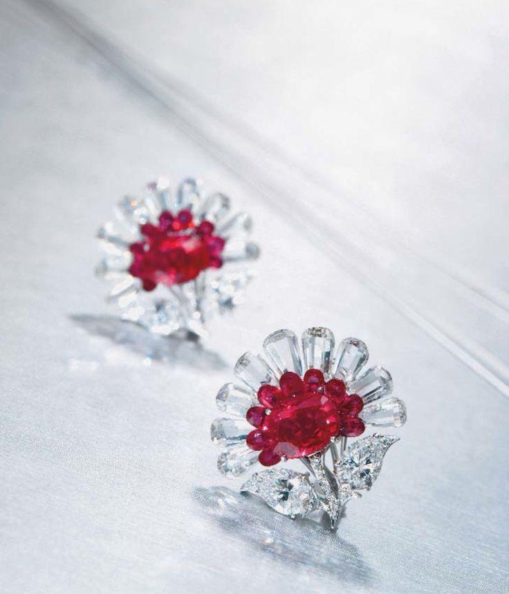 'Lotus Flower' Earrings by Viren Bhagat – ruby, white diamond, platinum