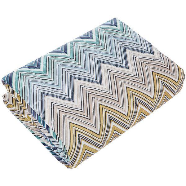Missoni Home Trevor Bedspread - 170 - 260x270cm ($755) ❤ liked on Polyvore featuring home, bed & bath, bedding, bedspreads, blue, blue chevron bedspread, blue zig zag bedding, blue bedspreads, zig zag bedding and chevron bedding