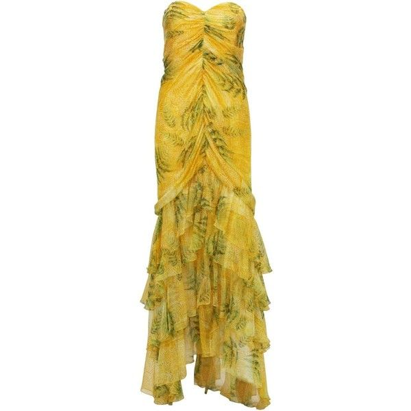 New Oscar De La Renta Silk Bustier Strapless Sweetheart Ruffle Long... ($1,805) ❤ liked on Polyvore featuring dresses, gowns, strapless long dresses, yellow evening dress, strapless gown, strapless dresses and yellow ruffle dress