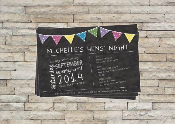 Hens' Night / Bacholerette Party Invitation - Chalkboard / Blackboard on Etsy