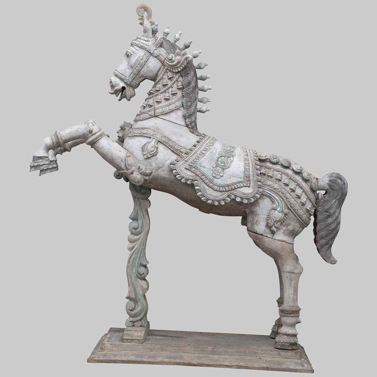 Indian Sculpture Cheval sculpté, période moghole