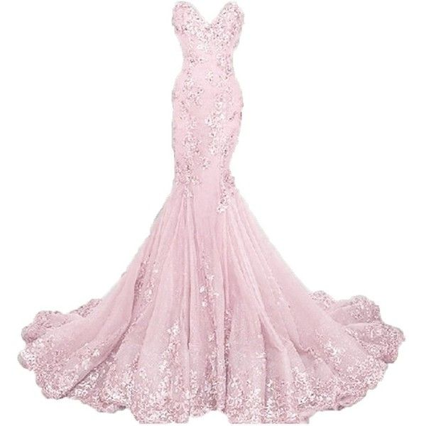 Pettus Women's Sweetheart Long Prom Dress Mermaid Appliue Evening Gown... ($160) ❤ liked on Polyvore featuring dresses, gowns, long white dress, white evening gowns, long evening dresses, white formal gowns and white gown
