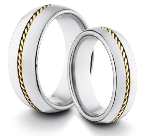 His & Her's 8MM/6MM Tungsten Carbide Classic Styled Polished Comfort Fit Wedding Band Ring Set w/ Gold Braided Inlay (Available Sizes 4-14 Including Half Sizes) TWG Tungsten,http://www.amazon.com/dp/B00AQ2ONZA/ref=cm_sw_r_pi_dp_z812rb05AFB16CKH