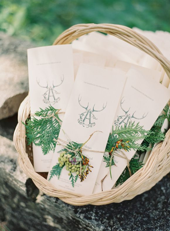 fresh + rustic wedding programs   via: magnolia rouge