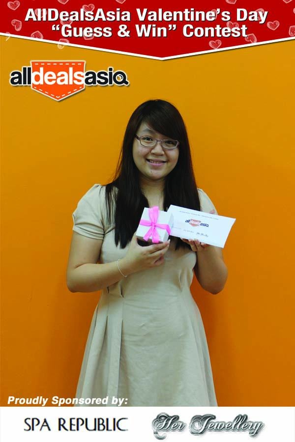 Congratulations to Li Shan for winning All Deals Asia's Valentines' Day Guess and Win Contest! She has won for herself the luxurious Couple Spa package from Spa Republic and a set of exquisite jewellery from Her Jewellery.