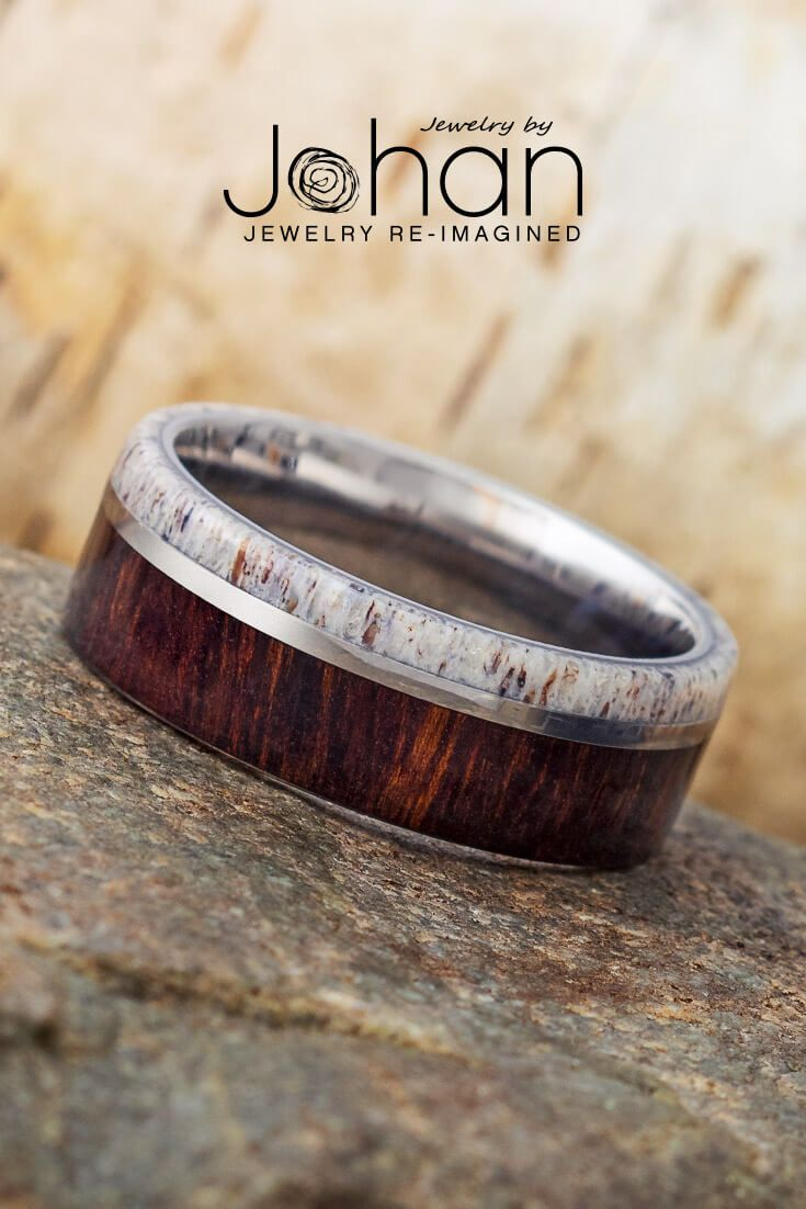Titanium Ring With Natural Ironwood And Deer Antler 1915 In 2020 Titanium Rings Antler Wedding Band Nontraditional Wedding Bands