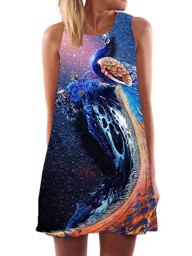 Vestido de Gasa con Estampado de pavo real