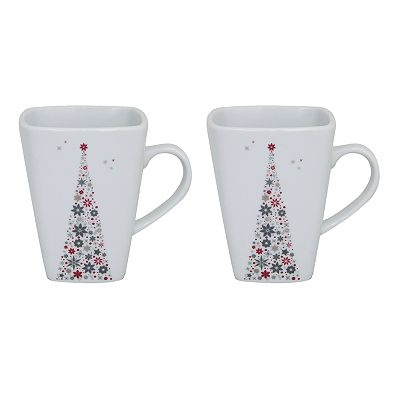 Food Network Holiday Tree 2-pc. Square Mug Set - these were sold at Kohls this past holiday.  They're the short mugs (my sister gifted me with 4 of the tall ones :o)  I am in love with this pattern!  If you see any of the shorter mugs I can reimburse you up to $8.00 per mug!