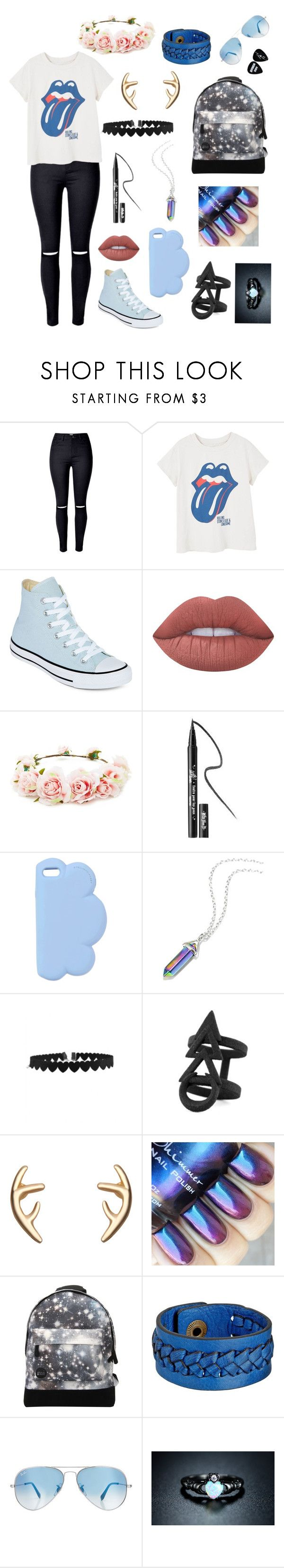 """Flower Child (not)"" by inspirationstrikes ❤ liked on Polyvore featuring MANGO, Converse, Lime Crime, Forever 21, Kat Von D, STELLA McCARTNEY, Rune NYC, Mi-Pac, Frye and Ray-Ban"
